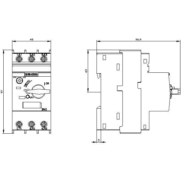 SIEMENS Leistungsschalter 3RV1021-4AA10  A-AUSLÖSER 11-16A  N-Auslöser 208A S0